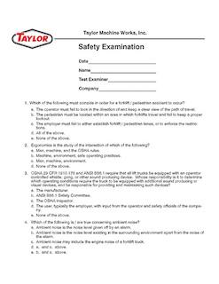English Safety Exam