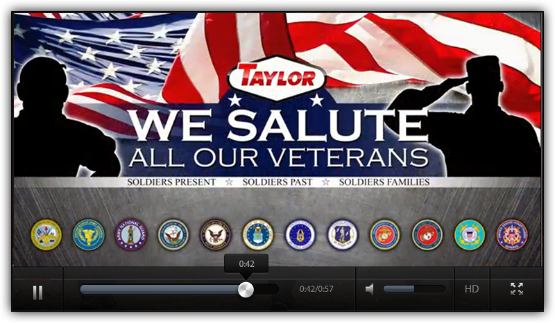 Taylor Salutes the men and women of our armed services