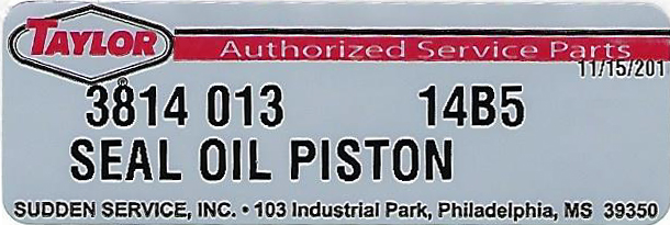 Taylor Oil Piston Seal Label